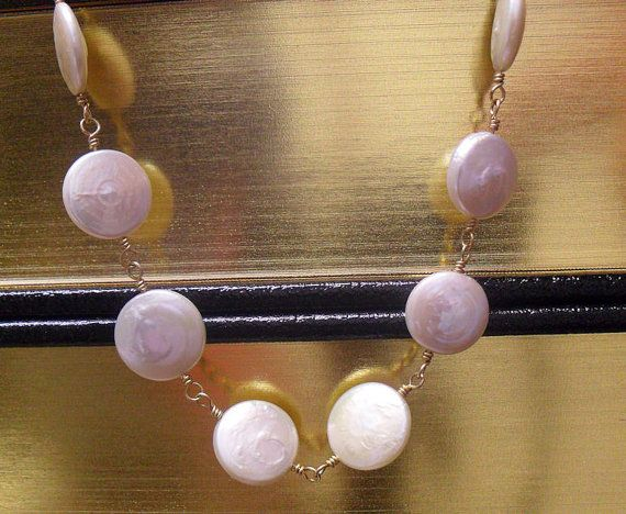Helen of Troy  Coin Pearl and Gold Necklace by KaeLynnDesign