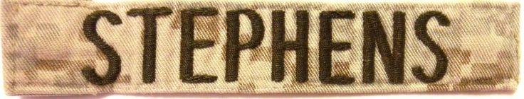 Military Name Tape -  U S Army - Desert Camo -  Name  STEPHENS -  Used