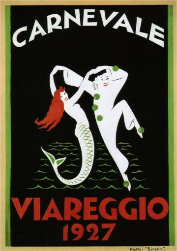 Vintage Italian Posters ~ #illustrator #Italian #posters ~ By Ruggero Alfredo Michaelles, 1 1927,  Viareggio Carnival (Italy).