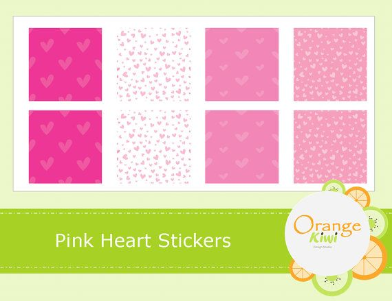 Pink Heart Washi Style Stickers  Heart Planner by OrangeKiwiDesign
