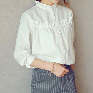 Buy Supernova Long-Sleeve Frilled Blouse at YesStyle.co.uk! Quality products at remarkable prices. FREE SHIPPING to the United Kingdom on orders over £25.