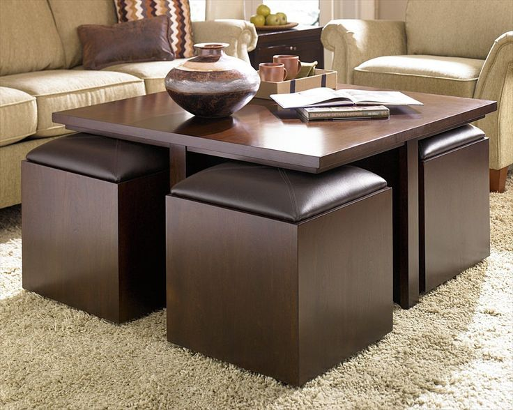 FurnitureModern Extra Large Black Square Coffee Table With Cubical Shape Bench Seat And