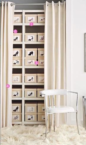 Idea: get a ton of identical boxes, take actual photos of shoes to glue on boxes. Shoes stay dust free on closet shelves. No more opening box after box! I love it.