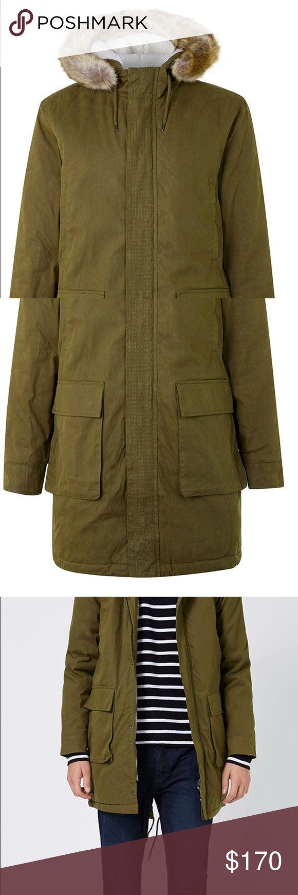 Khaki Faux Fur Hood Long Parka Brand new Topman Jackets & Coats