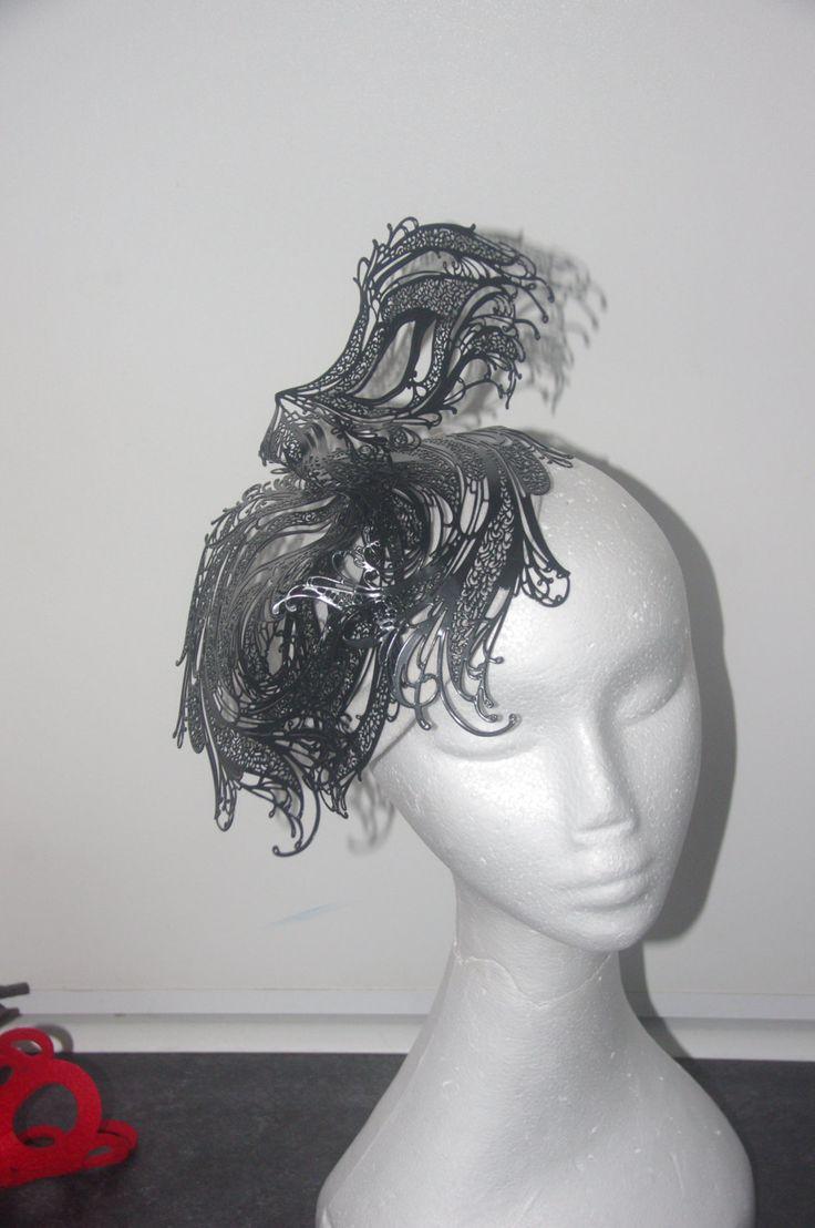Designer fascinator one of a kind. Black laser cut metal on white felt base Couture Hat fascinator hand sewn races, fashions on the feild by DesignerFascinators on Etsy