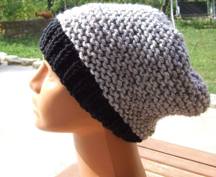 Knit slouch beanie - slouchy hat - mens slouch beanie - ladies slouch beanie - Unisex knitted chunky grey and black slouchy hat by WoolieBits on Etsy