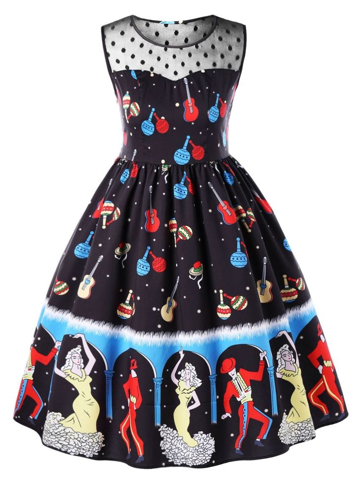 Plus Size Dancer Print Sleeveless Swing Dress - BLACK 5XL