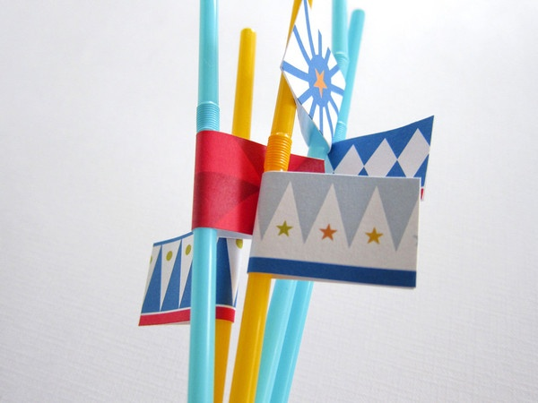 Circus Party Kit ~ Straw Flags