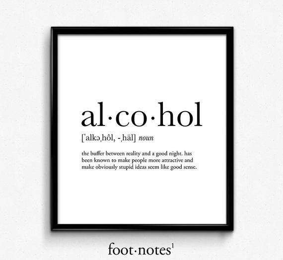Alcohol definition, dictionary art print, dictionary art, office decor, minimalist poster, funny definition print, definition poster, quotes