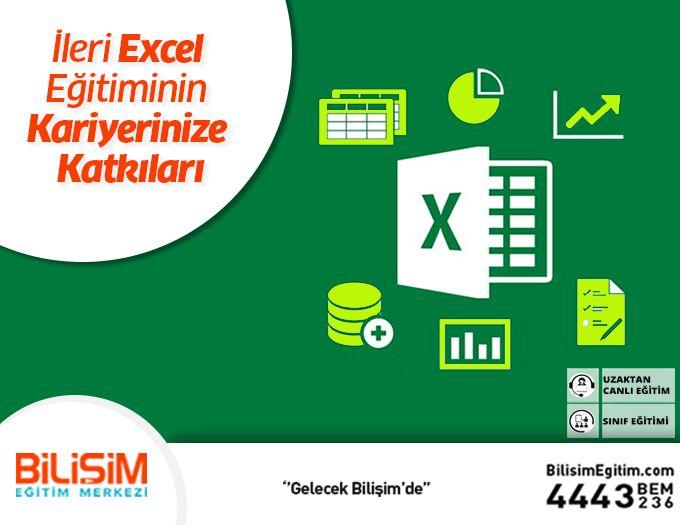 İleri Microsoft Excel Eğitiminin Kariyerinize Katkıları   Şirketler bilgi analizi ve raporlama kavramlarına giderek daha fazla önem vermektedirler bu nedenle Microsoft Office araçlarını etkin kullanabilen bireyler kariyerlerinde yükselebilmek için önemli avantajlara sahip olurlar. Bu programı bitirdiğiniz de Excel'i etkin kullandığınızdan karmaşık verilerin içerisinden rahatlıkla çözümleyeceksiniz.  Sonuçlara daha rahat daha hızlı ulaşabileceksiniz ve işinizdeki verimi arttıracaksınız.