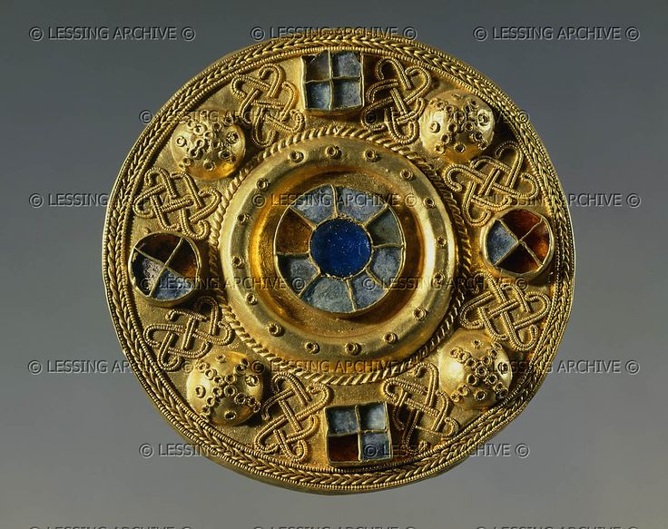 Gold buckle engraved and set with precious stones from Castle Trosino, Italy; Lombard era, 7th century CE.   Weissenstein Palace, Pommersfelden, Germany