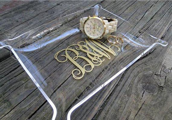 Acrylic Monogram Jewelry Tray by OhMyWordDesigns on Etsy, $12.00