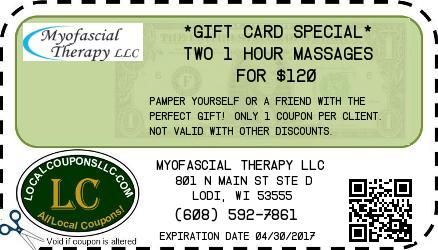 Coupon in Lodi WI for Myofascial Therapy LLC from Local Coupons LLC.