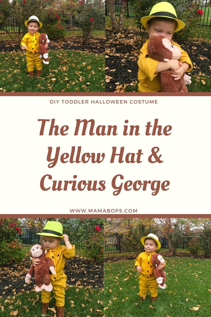 The Man in the Yellow Hat Costume Toddler - Do you have a toddler who loves Curious George? If so, they'll love this DIY toddler Halloween costume idea: The Man in the Yellow Hat from Curious George! This easy DIY kids Halloween Costume could even be a sibling Halloween costume idea with a baby dressed as the monkey, Curious George!
