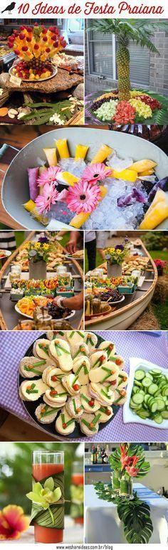 Veja 10 dicas de como fazer uma festa praiana  usando elementos como barco, frutas, folhagens, flores e conchas para colocar a mesa e decorar com charme.