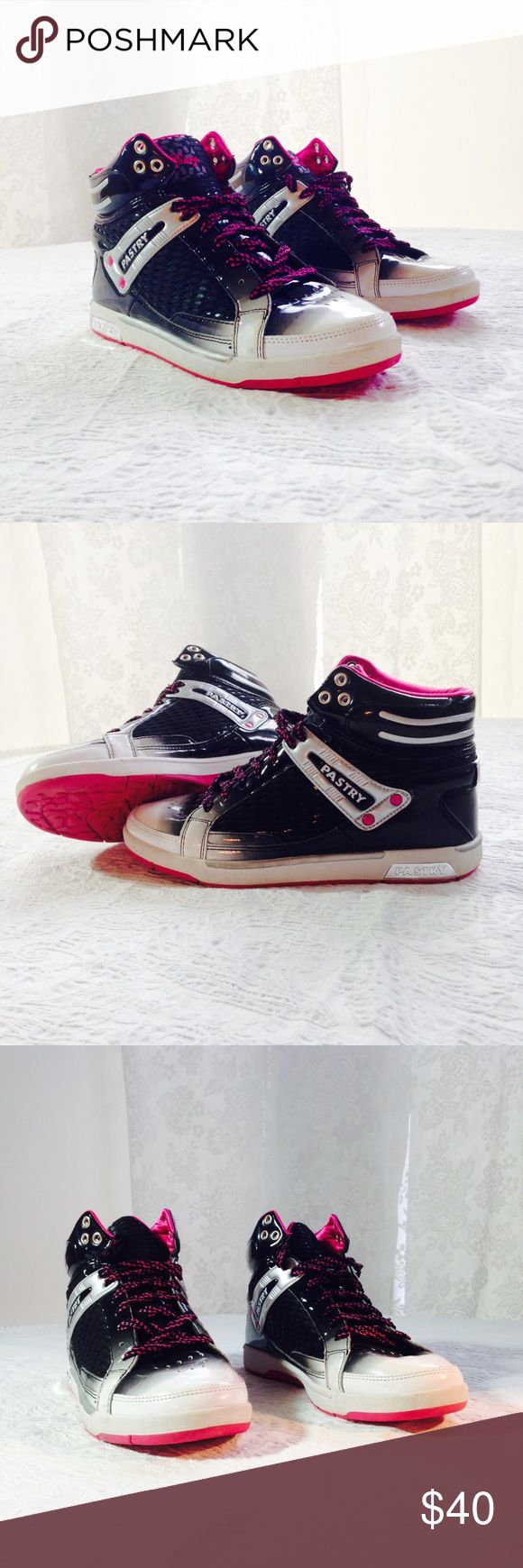 Pastry Shoes Stylish high-top, Pink & Black Laces, Pink Rubber Soles, Pink Inside, Primarily Black & White Outside Pastry Shoes Sneakers