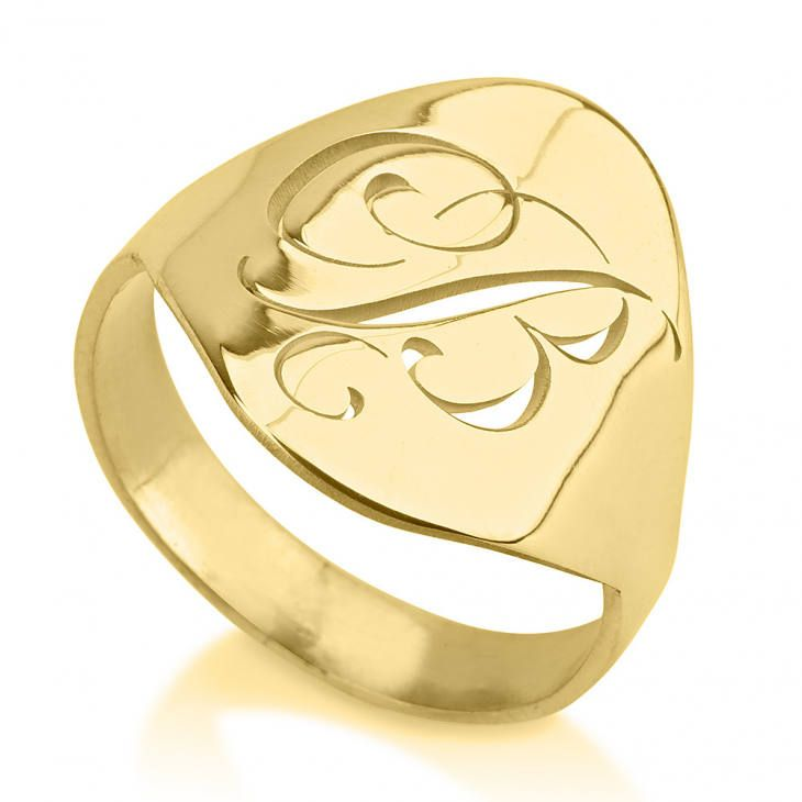 Name Ring Jewelry 24k Gold Plated Personalized Customized Cutout Initial Ring by GoldenRing2k16 on Etsy
