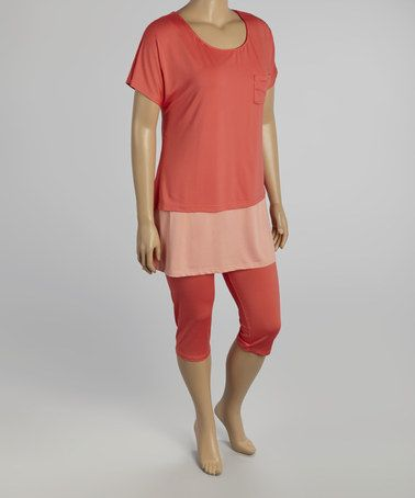 Another great find on #zulily! Coral Scoop Neck Tee & Capri Leggings - Plus #zulilyfinds