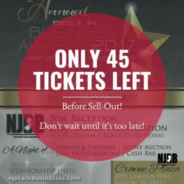 @Regranned from @njblackbusinesses -  ONLY 45 TICKETS REMAIN! NJBB Best in Business Awards 2017 .... Small Business Saturday November 25 2017!  Get your tickets today!! Link in bio! #njbb #buyblack #winner #blackbusinessdirectory #awards #nominate #honor #smallbusinesssaturday #shopsmall #success #inspire #entrepreneur #business #gala #motivate #achieve #community #support #star #njevents #award #events #NJBBAwards2017 #redcarpet