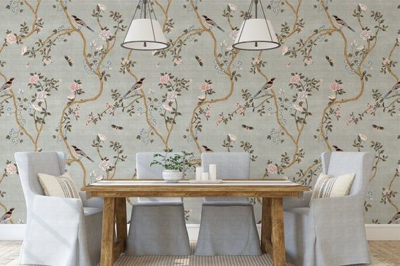 New Avignon Chinoiserie Peel N Stick Or Prepasted Etsy In 2020 Prepasted Wallpaper Beautiful Wall Chinoiserie