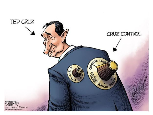 """Political cartoon Ted Cruz Political and Editorial Cartoons - The Week - """"Tea Party"""" GOP - """"the first Hispanic ever to have clerked for the Chief Justice - In 2012, took a bold stand against all compromise: """"I don't think what Washington needs is more compromise, I think what Washington needs is more common sense and more principle. Has referred to climate change as """"a so-called scientific theory,""""..."""