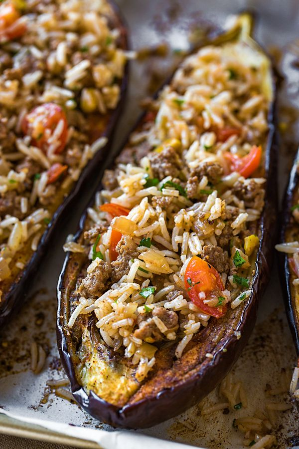 This savory stuffed eggplant with middle eastern spices and a garlic tahini sauce is a delicious and beautiful meal, one full of textures and healthy ingredients. |