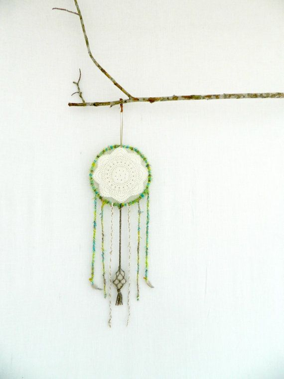 BOHO DREAM CATCHER . natural textures green brown by bohemianbabes