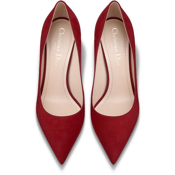 High-heeled shoe in red suede calfskin - Dior ❤ liked on Polyvore featuring shoes, calf leather shoes, red suede pumps, suede shoes, calfskin leather shoes and high heel pumps