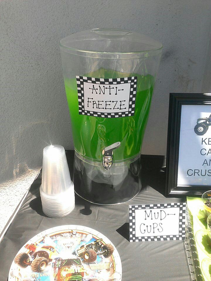 Grave digger birthday party. Monster trucks Cute ideas for juice!