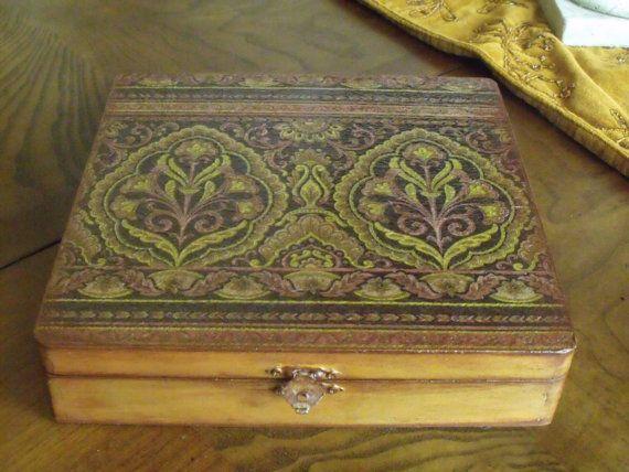 Jewelry Box Decoupaged Box Damask Box Gold by SilverJewelsByCindy, $30.00