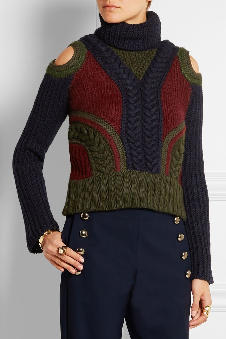 ALEXANDER MCQUEEN                            Cutout wool-blend turtleneck sweater