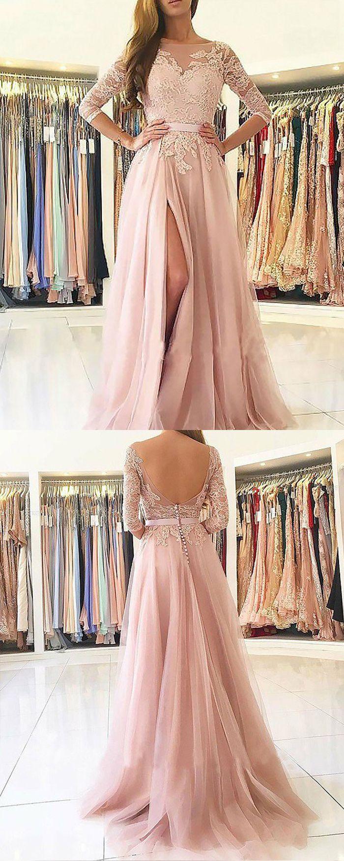 cec65f7c318 jewel lace appliqued pink tulle slit prom dress, long sleeve pink formal  dress