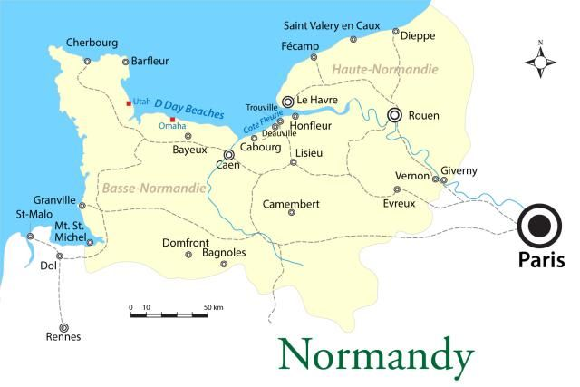 Normandy: D-Day Beaches to the World's Best Butter: Map of the Region of Normandy in France: Cities and D-Day Beaches