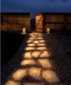 Glow in the dark paint on paving stones.  Apparently the glow doesn't last long and the paint may wash off, but it looks like a cool idea.