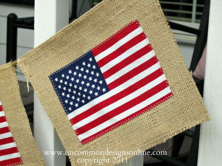 burlap, twine and dollar store flag garland  I love this!!! So easy.