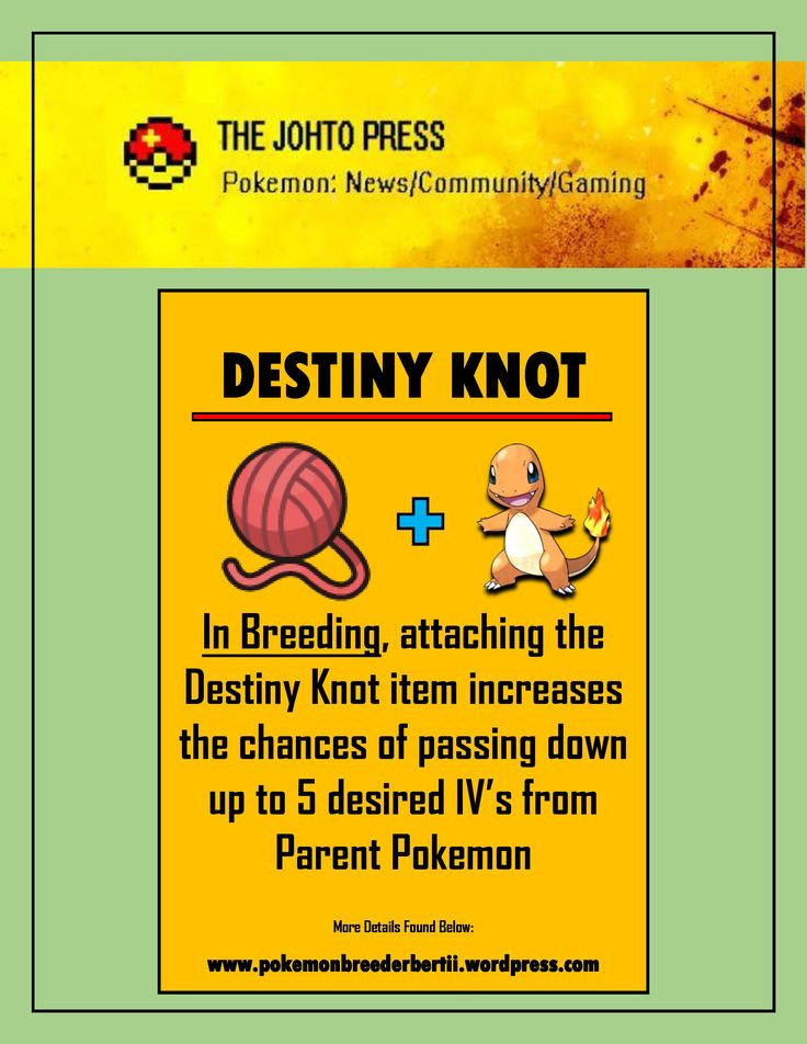 Are you still confused about Pokemon Breeding? Then, enjoy these quick tips that will get quick basic information to get you started on your #pokemon #breeding. Destiny Knot is one of the most basic breeding items to have  Johto Press Blog: www.pokemonbreederbertii.wordpress.com Johto Press YouTube: https://www.youtube.com/channel/UCbsKdiIXM3gYzxh5Wh7-bDw Instagram: https://www.instagram.com/thejohtopress/?hl=en Twitter: https://twitter.com/BertiiPerches