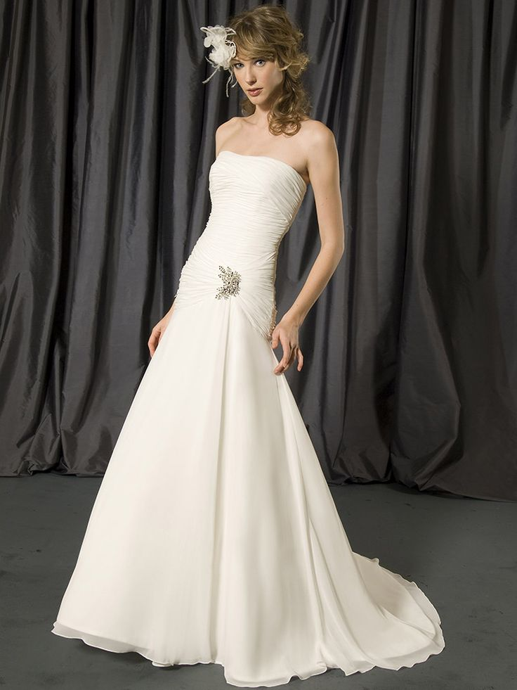 Ivory Chiffon Floor Length Strapless Brooch A-line Wedding Dress at Millybridal.com