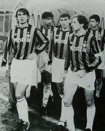 A.C. Milan Legends (from left to right) : Paolo Maldini, Frank Rijkaard, Mauro Tassotti, Franco Baresi and Carlo Ancelotti