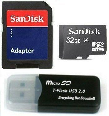 Sandisk 32GB Micro SDHC Class 4 TF Memory Card for Samsung Galaxy S II AT&T GALAXY Note with Everything But Stromboli Micro SD Black Card Reader - Bulk Packed by SanDisk. $19.97. This 32GB Class 4 MicroSDHC Memory card has a guaranteed to maintain read write speed of at least 4mb/s, twice as fast as a class 2 card.  Comes with bonus MicroSDHC to USB Memory card reader for transferring all of your file from the card to your computer.