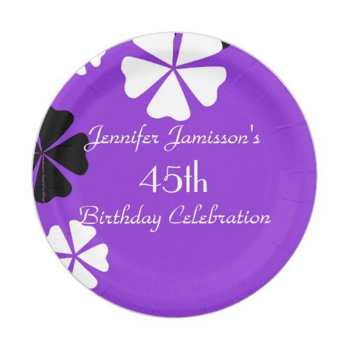 Purple Floral Paper Plates, 45th Birthday Party Paper Plate