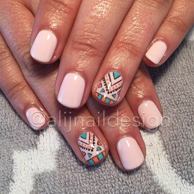 Nude Nails + Tribal Accent Nail
