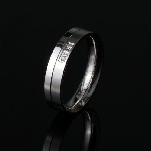 Livingpal Matte Finished Polished 3 Stone Diamond Platinum Plated Silver Bride Ring Wedding Bands