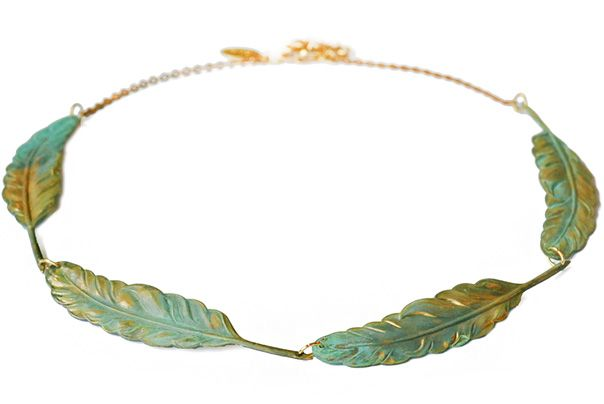 Icarus Verdigris Patina Feather Collar Necklace    http://wedreamincolor.com/jade/verdigris.020.php