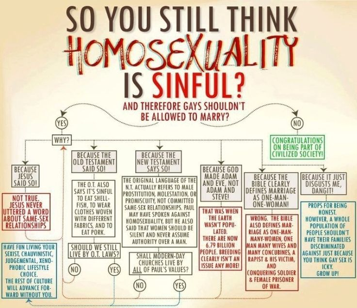 """There's a lot of stuff we used to do that we don't do anymore — it's called progress. So the next time someone wants to preach to you about the """"sin"""" of homosexuality, whip out this handy, logically constructed little flow chart for them — and go back to enjoying the 21st century."""