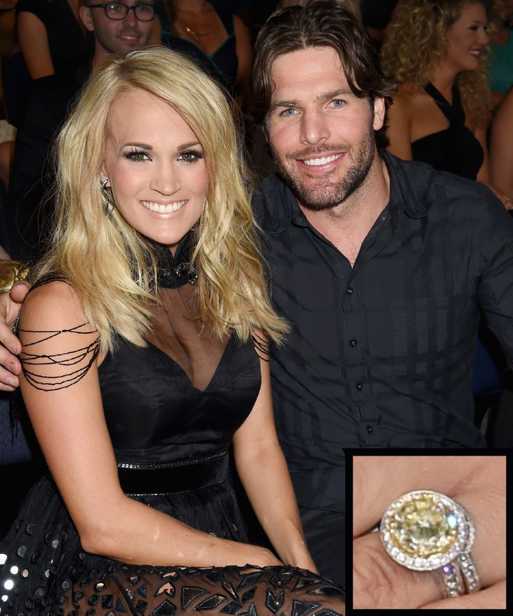 The Most Breathtaking Celebrity Engagement Rings Ever - Carrie Underwood and Mike Fisher from InStyle.com