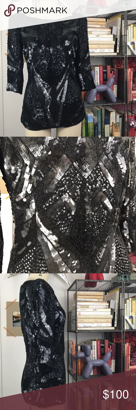 French Connection Sequined Top A strong Shoulder with light padding and concealed back zip. In excellent condition. Wear with jeans for an edgy look or slacks for any event. French Connection Tops Blouses