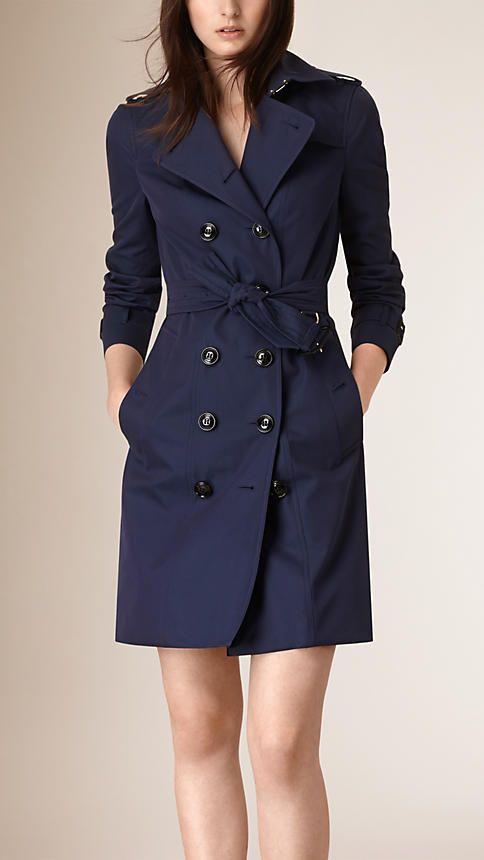 BURBERRY, Ink blue Cotton Gabardine Trench Coat