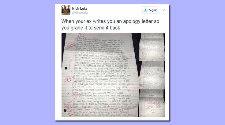 """O jovem resolveu """"se vingar"""" da ex devolvendo a carta de desculpas dela com uma extensa correção dos erros gramaticais que ele encontrou!"""