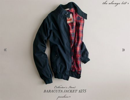 Baracuta G9 Harrington Jacket. Fully lined in the brand's famous Fraser Tartan, the plaid lining's graced the shoulders of people like Steve McQueen and Frank Sinatra alike.