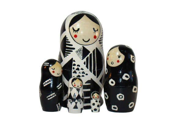 Nesting Dolls Black and White. 6.9 5pcs set от MirMatryoshki